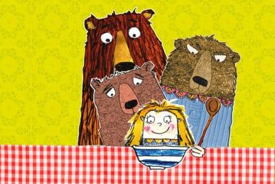Cartoon of Goldilocks and the three bears