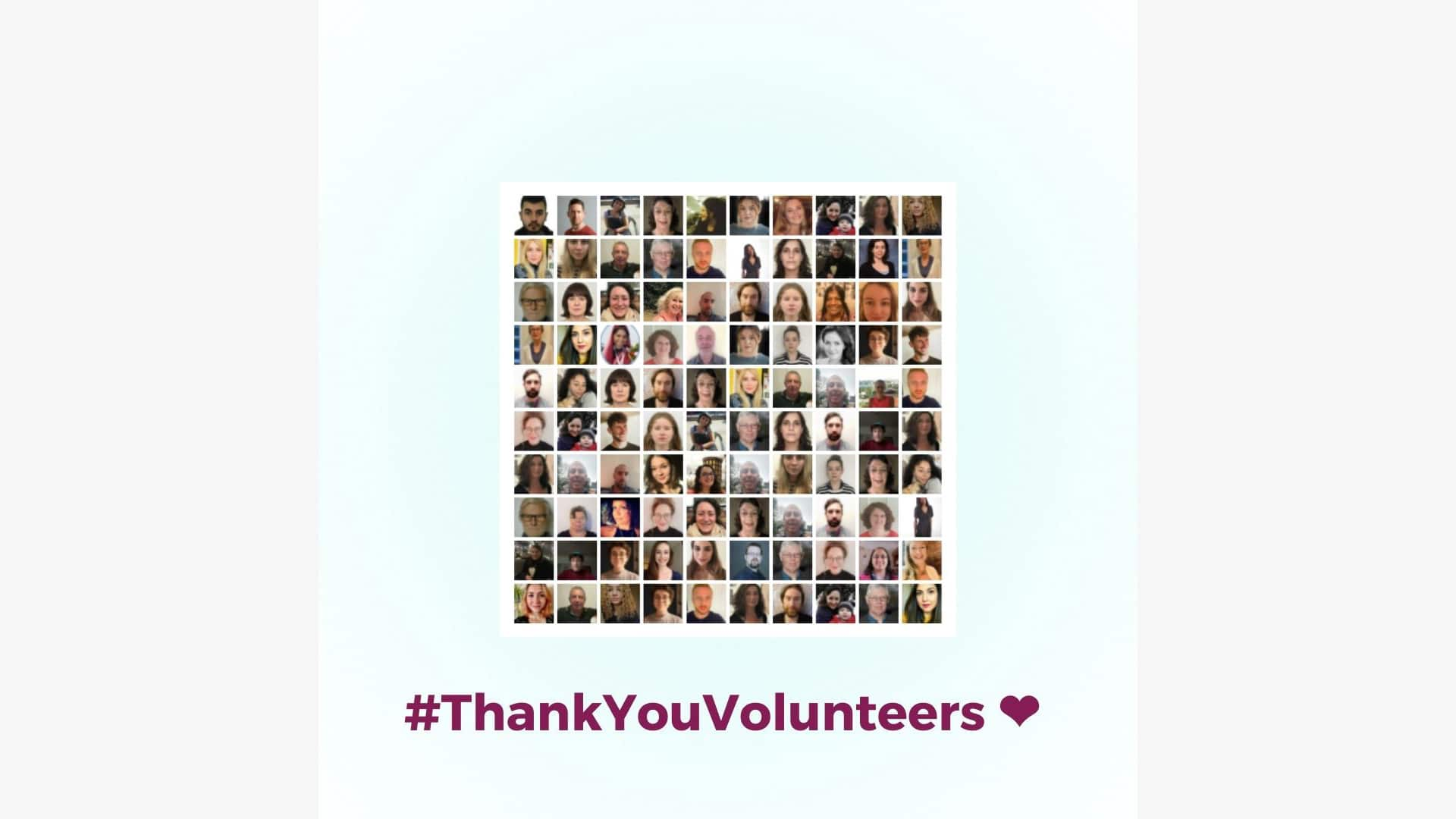 A grid of lots of small headshots with the hashtag #ThankYouVolunteers