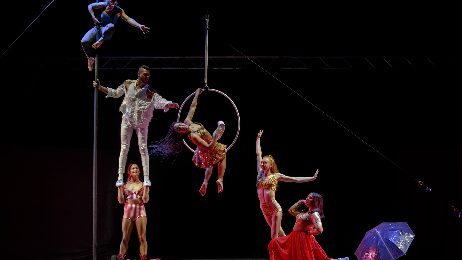 Aerial performers, one hanging from a rope, one sat in a hoop, one balancing on another's hands, and two smiling and dancing together