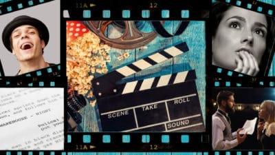 A collage of actors, scripts, popcorns and a clapper board